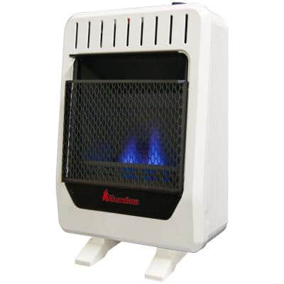 10,000 BTU Ventless Dual Fuel Blue Flame Heater With Base, Manual Control