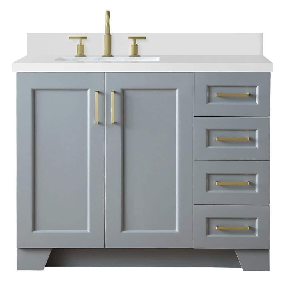 Ariel Taylor 43 In W X 22 In D Bath Vanity In Grey With Quartz Vanity Top In White With Left Offset White Rectangle Basin Q43slb Wqr Gry The Home Depot
