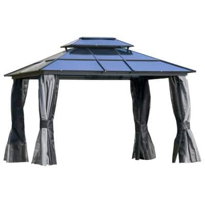 10 ft. x 12 ft. Black Polycarbonate Hardtop Patio Gazebo with Double-Tie Roof and Sidewall Nettings