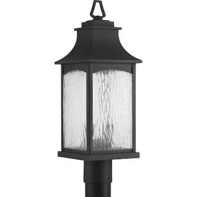 Maison Collection 2-Light Textured Black Water Seeded Glass Farmhouse Outdoor Post Lantern Light