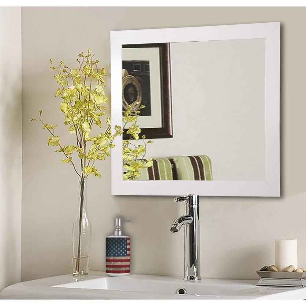 27 In W X 27 In H Framed Square Bathroom Vanity Mirror In White S021ml The Home Depot