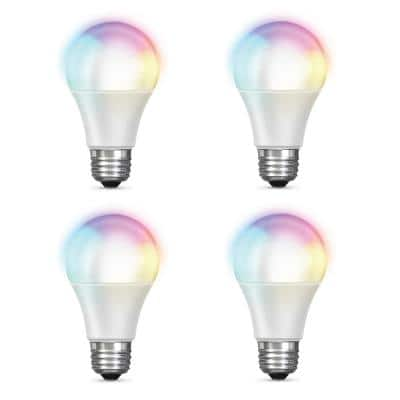 60-Watt Equivalent Daylight A19 Dimmable Color Changing Wi-Fi LED Smart Light Bulb (4-Pack)