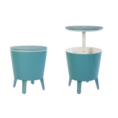 Cool Bar Teal Resin Outdoor Accent Table and Cooler in One