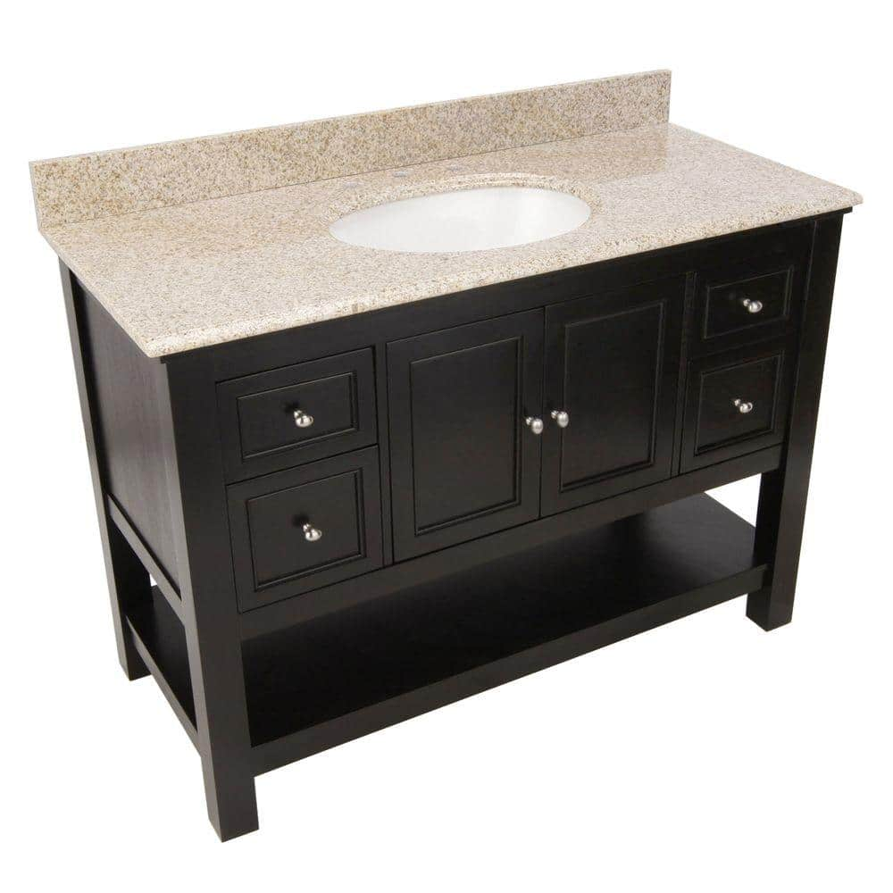 Home Decorators Collection Gazette 49 In Vanity In Espresso With Granite Vanity Top In Beige With Single Bowl Gaea4822dbt The Home Depot