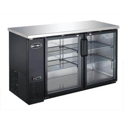 60 in. W 15.8 cu. ft. Commercial Under Back Bar Cooler Refrigerator with Glass Doors in Stainless Steel with Black