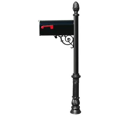 Lewiston Black Decorative Post Mounted Mailbox System with Non-Locking E1 Economy Mailbox