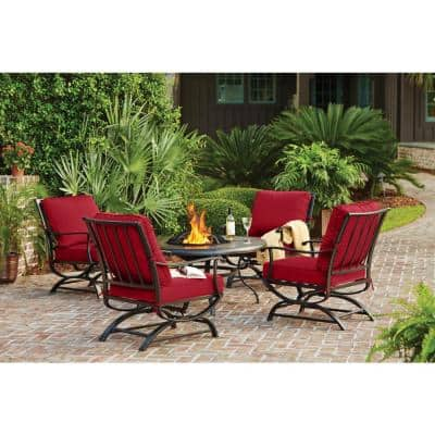 Redwood Valley Black 5-Piece Steel Outdoor Patio Fire Pit Seating Set with CushionGuard Chili Red Cushions