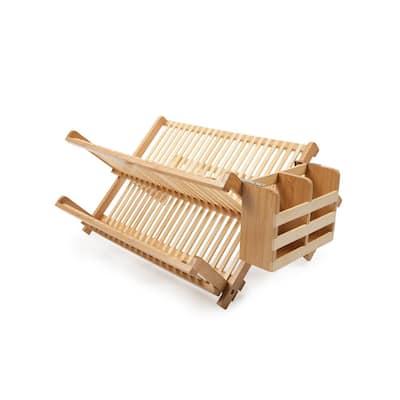 Bamboo Dish Rack with Utensil Holder