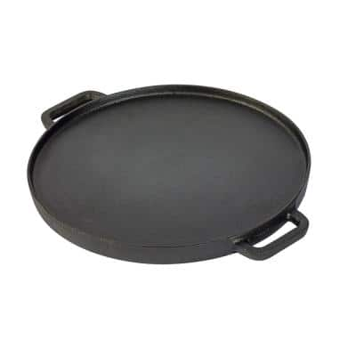 12 in. Pre-Seasoned Cast Iron Round Reversible Grill/Griddle with 2-Side Handles Non-Stick