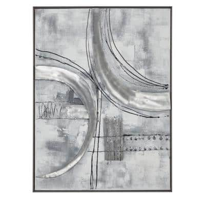 """Rectangular Silver Textured Abstract Canvas Wall Art With Silver Metal Frame, 30"""" X 40"""""""