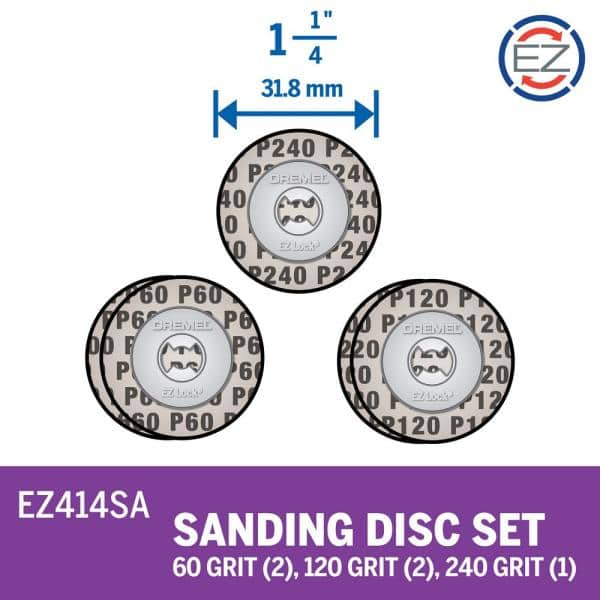 Dremel Ez Lock 1 25 In Rotary Tool Sand Disc Multi Pack Of Assorted Grit Ez414sa The Home Depot