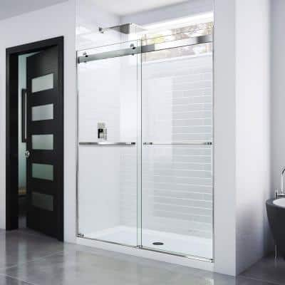 Essence 44 in. to 48 in. x 76 in. Semi-Frameless Sliding Shower Door in Chrome