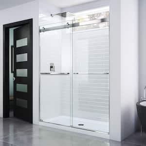 Essence 56 in. to 60 in. x 76 in. Semi-Frameless Sliding Shower Door in Chrome