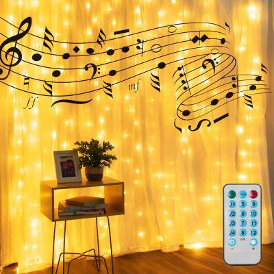 9.8 ft. x 9.8 ft. 300 Warm White LED Music Curtain Lights with USB, 10 Strands, 10 Hooks, Remote Control Included