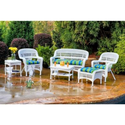 Portside White 6-Piece Wicker Patio Seating Set with Haliwell Caribbean Cushions