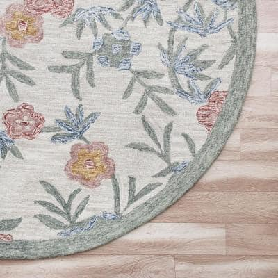 Sinuous Cream/Multi-Color 6 ft. Round Hand Hooked Vintage Floral Garden Wool Area Rug