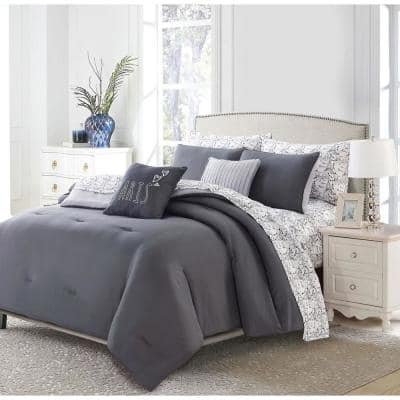 7-Piece Charcoal Parisian Twin Bed in a Bag Set