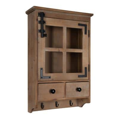 Hutchins 6 in. x 15 in. x 23 in. Brown Wood Decorative Cubby Wall Shelf with Hooks