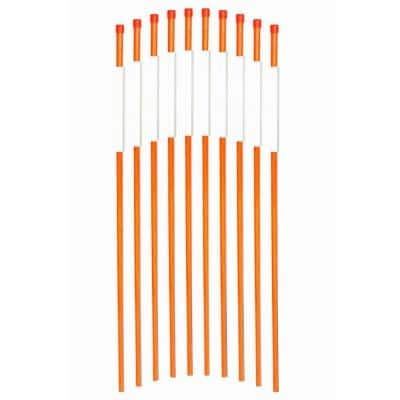 36 in. Pavement Marker 1/4 in. Dia Solid Snow Poles Stakes Reflective, Orange (50-Pack)