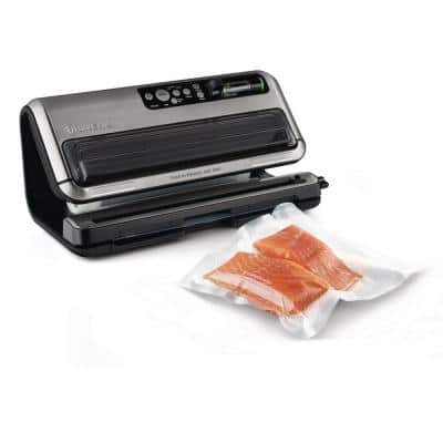 2-in-1 Black and Silver Automatic Food Vacuum Sealer