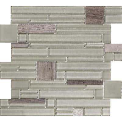 Entity Vigor Glossy 11.81 in. x 11.81 in. x 8mm Glass Mesh-Mounted Mosaic Tile (0.97 sq. ft.)