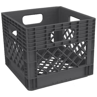 13 in. D x 11 in. H x 13 in. W Graphite Plastic Cube Storage Bin