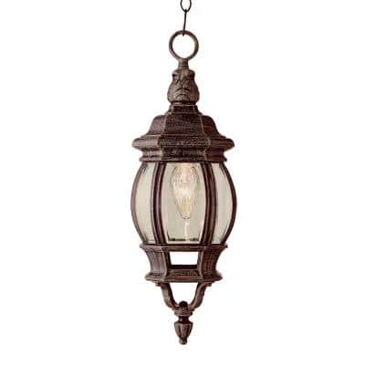 Parsons 1-Light Rust Outdoor Pendant Light with Clear Glass