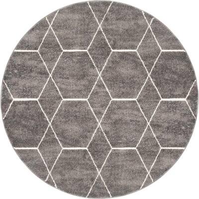 Trellis Frieze Dark Gray/Ivory 5 ft. x 5 ft. Round Geometric Area Rug