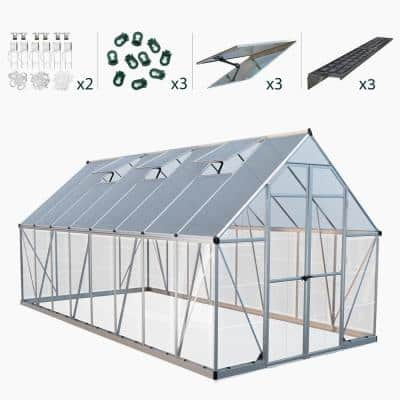 Balance 8 ft. x 16 ft. Silver Polycarbonate Greenhouse Including Accessory Combo Pack