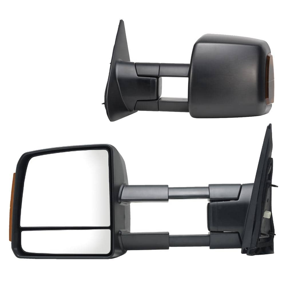 Foldaway Dual Mirror Sequoia Black Textured Black Fit System Driver Side Towing Mirror for Toyota Tundra Pick-Up Standard extendable w//Turn Signal /& Running Lights Heated Power