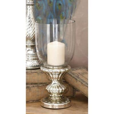 Silver Glass Traditional Candle Hurricane Lamp