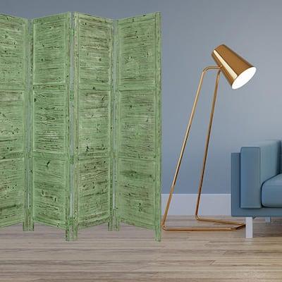 Mariana 7 ft. Green 4-Panel Screen Divider