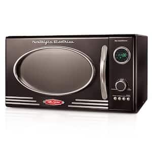 0.9 cu. ft. Retro Countertop Small Microwave in Black