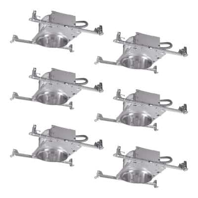 6 in. Aluminum Recessed Lighting Housing for New Construction Shallow Ceiling, Insulation Contact, Air-Tite (6-Pack)