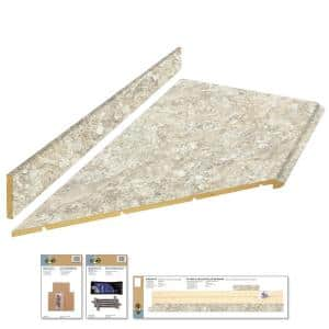 8 ft. Beige Laminate Countertop Kit With Left Miter and Full Wrap Ogee Edge in Spring Carnival Granite