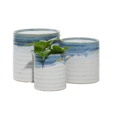 9 in.,7 in., 6 in. Ceramic Planters White With Blue And Green Paint (Set of 3)