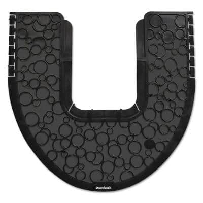 Black Rubber 22 in. x 22 in. Absorbant Commode Commercial Floor Mat 2.0 (6/Carton)
