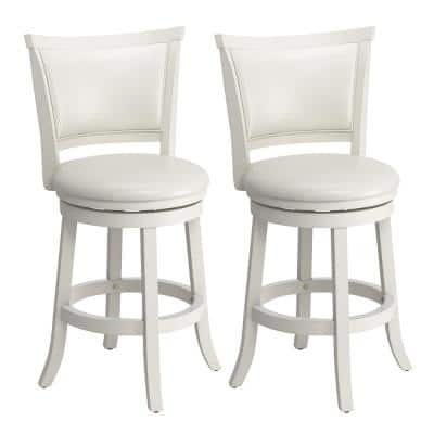 Woodgrove 25 in. Counter Height White Wood Swivel Bar Stools with White leatherette Seat and Backrest (Set of 2)