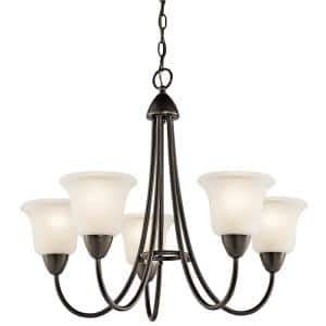 Nicholson 5-Light Olde Bronze Chandelier with White Etched Glass Shade