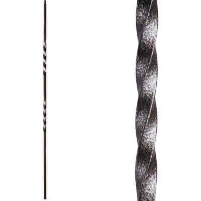 Twist and Basket 44 in. x 0.5 in. Copper Vein Double Twist Hollow Wrought Iron Baluster