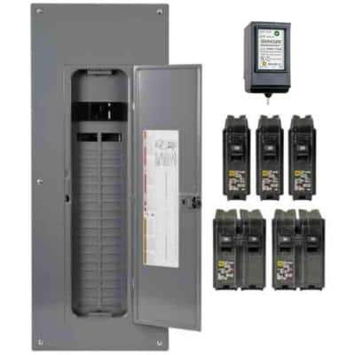 Homeline 200 Amp 40-Space 80-Circuit Indoor Main Breaker Plug-On Neutral Load Center, Surge Protection Device Value Pack