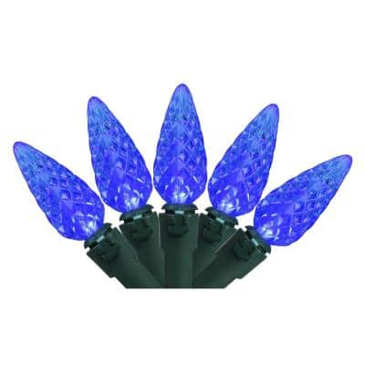 Set of 70 Blue LED C6 Christmas Lights - Green Wire