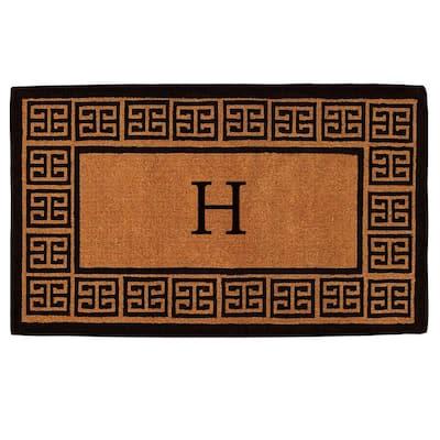 The Grecian Extra-Thick 18 in. x 30 in. Monogram H Door Mat