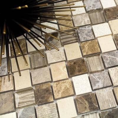 Drumlin Win Drift Squares 12.25 in. x 12.25 in. x 8mm Honed Marble and Glass Mosaic Tile