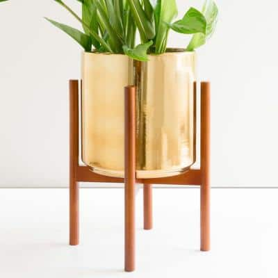 10 in. Gold Ceramic Planter with Medium Wood Stand (10 in., 12 in. or 15 in.)