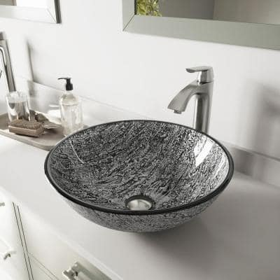 Glass Round Vessel Bathroom Sink in Titanium Gray with Linus Faucet and Pop-Up Drain in Brushed Nickel