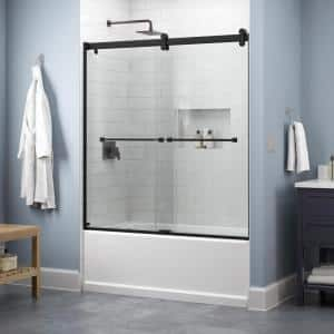 Lyndall 60 in. x 58-3/4 in. Contemporary Sliding Frameless Bathtub Door in Matte Black with Clear Glass