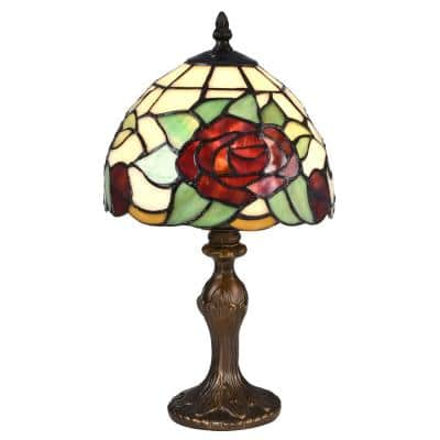 14.5 in. Indian Rose Antique Bronze Table Lamp with Tiffany Art Glass Shade