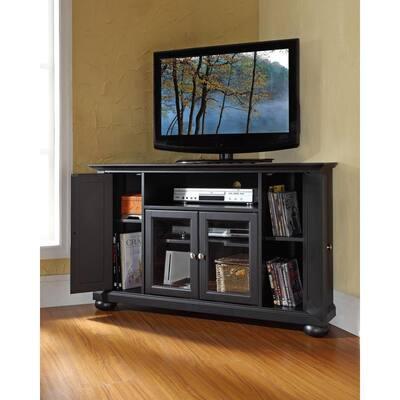 Alexandria 48 in. Black Wood Corner TV Stand Fits TVs Up to 52 in. with Storage Doors