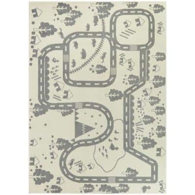 Rural Roadway Cream 5 ft. x 7 ft. Kids Area Rug